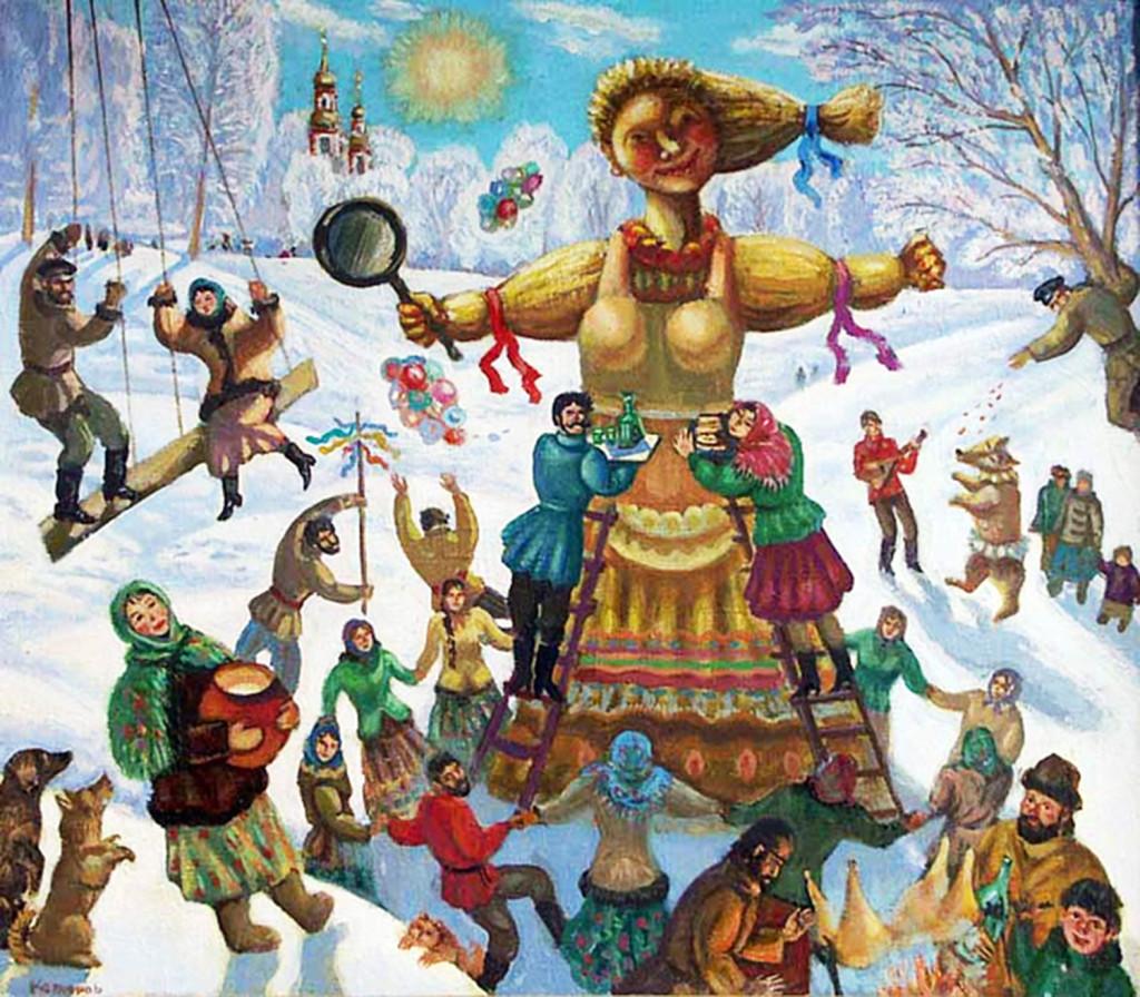 Иллюстрация с картины В. Б. Котлярова «Масленица. Проводы зимы»