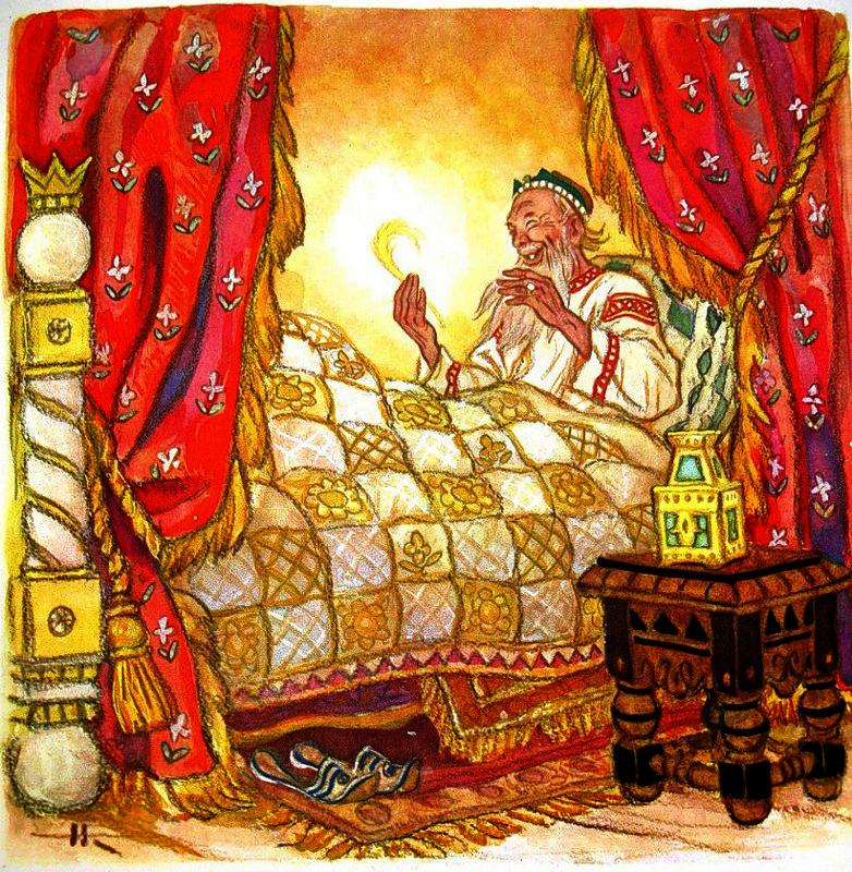 Царь смотрел и дивовался, гладил бороду, смеялся... (илл. Н. Кочергина)