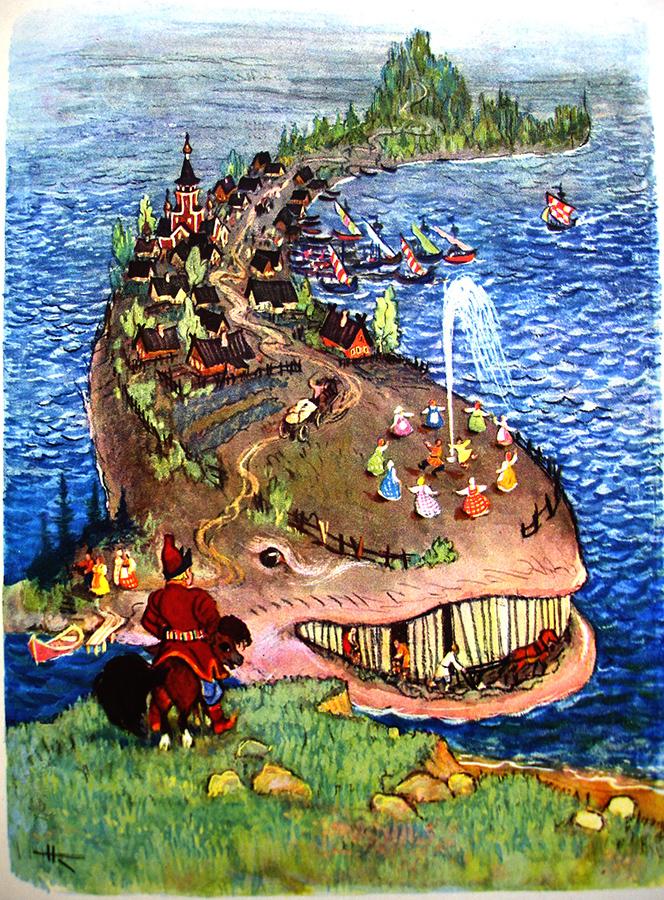 Вот въезжают на поляну прямо к морю-окияну; Поперёк его лежит Чудо-юдо рыба-кит... (илл. Н. Кочергина)