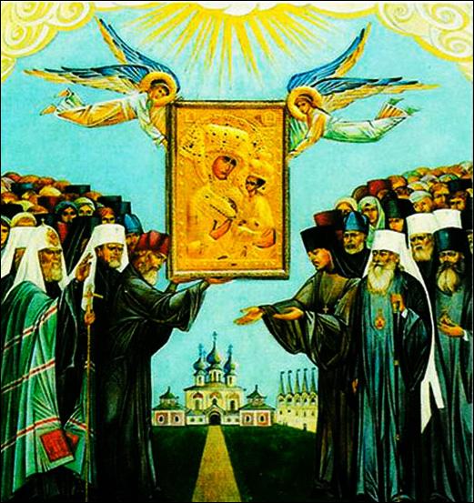 Фрагмент образа Второе обретение иконы Тихвинской БМ