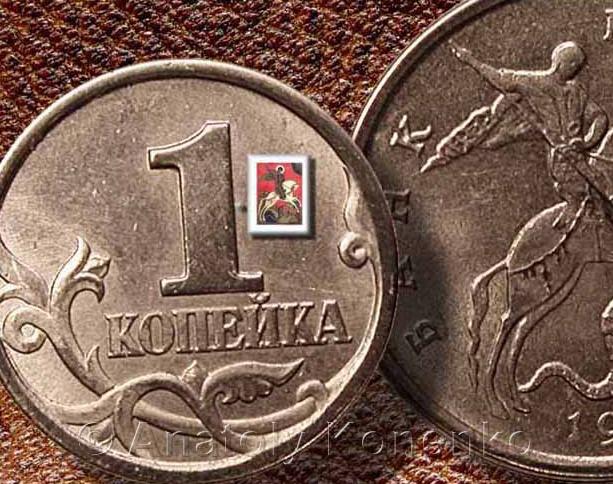 Икона-Чудо-Георгия-о-змие-ХV-в.-Новгород.-Микроминиатюрная-икона-выполнена-акварелью-на-пластине-из-бивня-мамонта.-Размер-1.3-х-1.8-мм