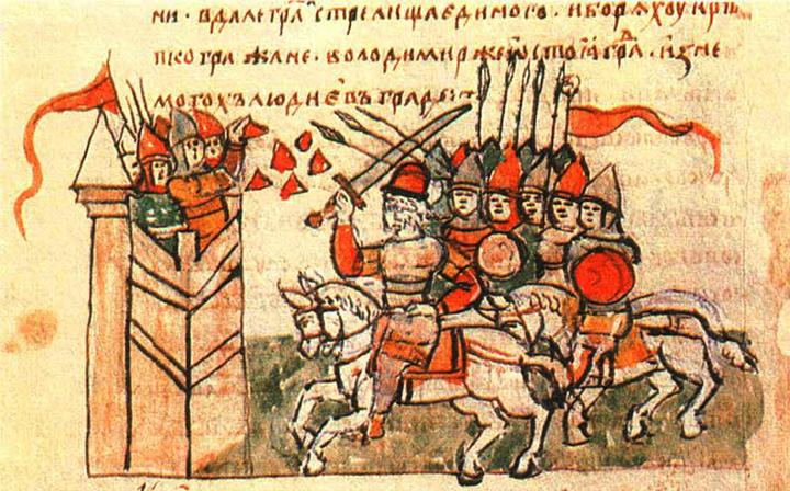 Поход Владимира на Корсунь. Миниатюра из Радзивилловской летописи
