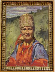 Портрет Олеси Чупровой в головном уборе хаз
