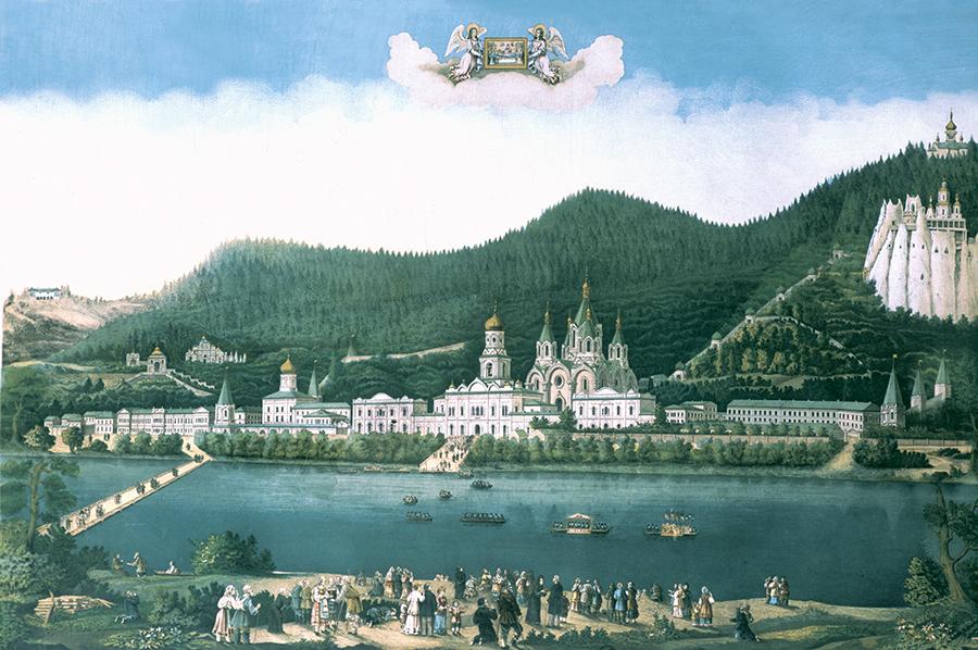 Литография 1881 г с видом Святогорского монастыря
