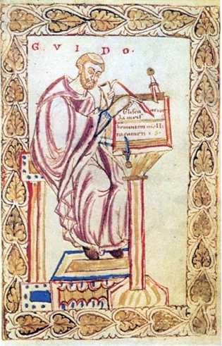На этом старинном рисунке Гвидо Д`Ареццо за работой